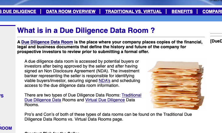 http://duediligencedataroom.com/What-is-a-Data-Room.html